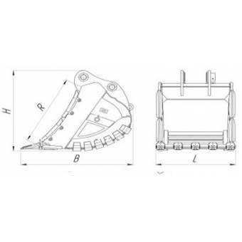 Ковш скальный для экскаватора Hyundai 300 карьерный