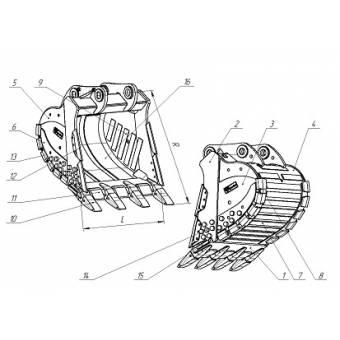 Ковш для карьерного экскавтора Volvo EC700 скальный сверхусиленный